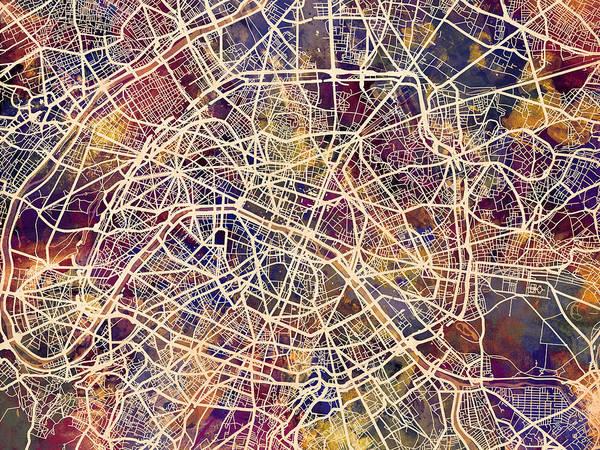 Paris Art Print featuring the digital art Paris France City Street Map by Michael Tompsett