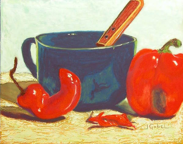 Still Life Art Print featuring the pastel Pepper Harvest by Laura Gabel