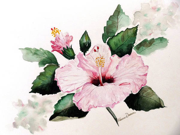 Hibiscus Painting  Floral Painting Flower Pink Hibiscus Tropical Bloom Caribbean Painting Art Print featuring the painting Pink Hibiscus by Karin Dawn Kelshall- Best