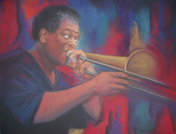 African American Art Print featuring the pastel Playing the Blues by Diane Caudle