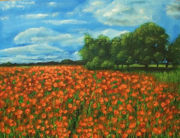 Poppy Art Print featuring the painting Poppies field original painting by Natalja Picugina