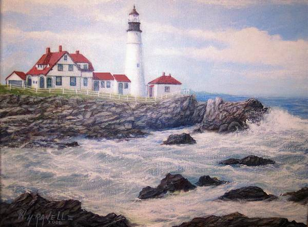 Lighthouse Art Print featuring the painting Portland Head Lighthouse by William H RaVell III