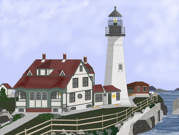 Portland Head Lighthouse Art Print featuring the painting Portland Head Maine on Cape Elizabeth by Anne Norskog