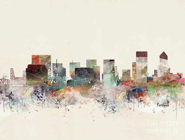 Portland Art Print featuring the painting Portland Oregon Skyline by Bri Buckley