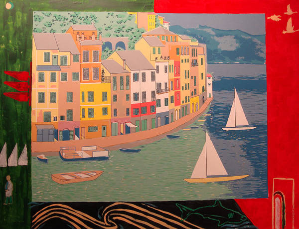 Art Print featuring the painting Portofino with birds by Biagio Civale