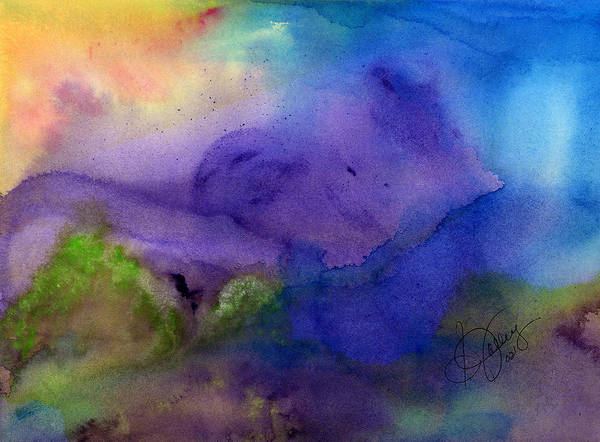 Watercolor Art Print featuring the painting Purple Moon by Stephanie Jolley