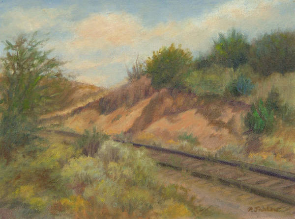 Oil Landscape Art Print featuring the painting Rail to Lamy by Phyllis Tarlow