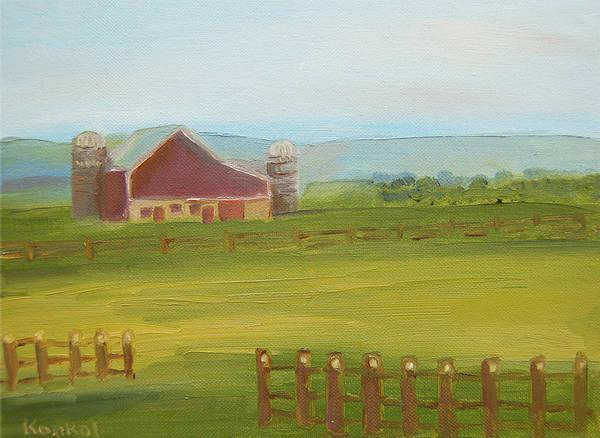 Konkol Art Print featuring the painting Red Barn by Lisa Konkol