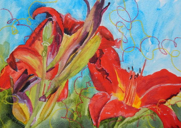 Red Art Print featuring the painting Red Day Lilies by Jean Blackmer