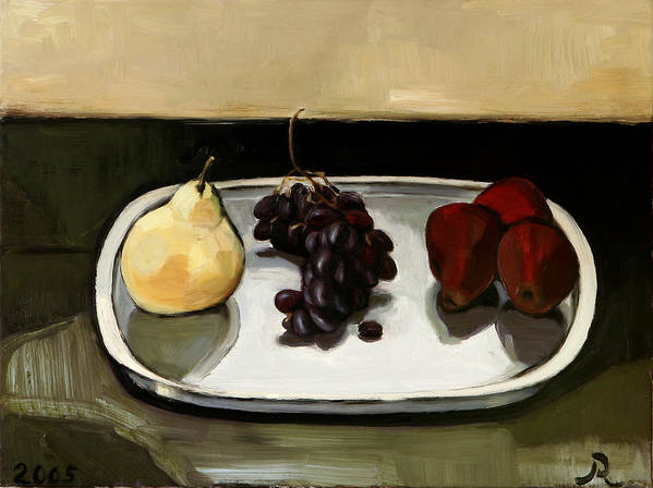 Still-life Grapes Pears Art Print featuring the painting Red Pears by Raimonda Jatkeviciute-Kasparaviciene