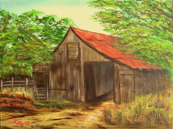Landscape Art Print featuring the painting Red Roof Barn by Kenneth LePoidevin