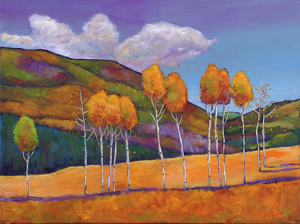 Autumn Aspen Art Print featuring the painting Reminiscing by Johnathan Harris