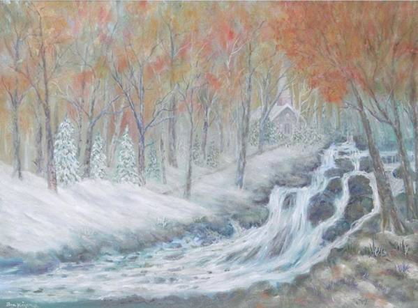 Snow; Landscape; Church Art Print featuring the painting Reverence by Ben Kiger