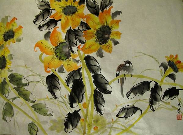 Sun Flowers Art Print featuring the painting Rising Sun by Anita Lau