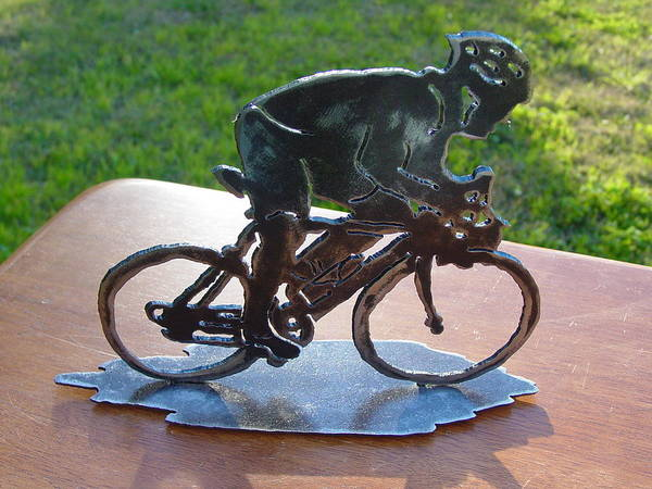 Steel Art Print featuring the sculpture Road race by Steve Mudge