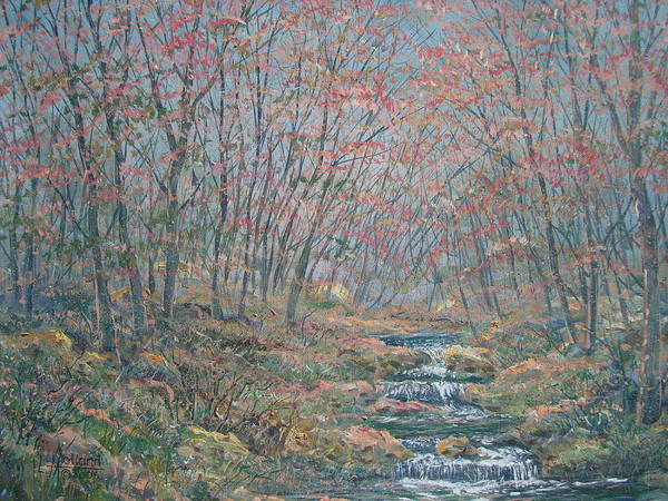 Painting Art Print featuring the painting Rocky Forest. by Leonard Holland