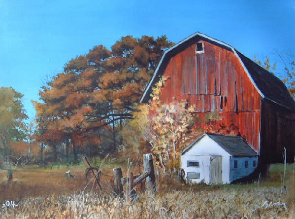 Barn Art Print featuring the painting Rose Center Barn by William Brody