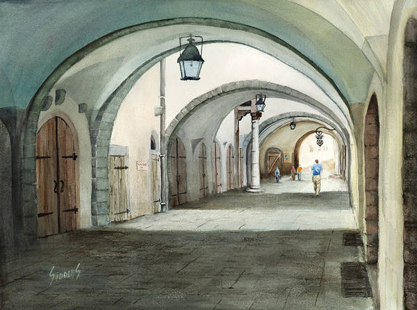 Germany Art Print featuring the painting Rothenburg Backstreet by Sam Sidders