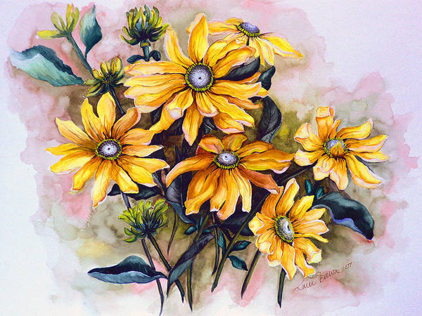 Flower Painting Sun Flower Painting Flower Botanical Painting  Original Watercolor Painting Rudebeckia Painting Floral Painting Yellow Painting Greeting Card Painting Art Print featuring the painting RUDBECKIA Prairie Sun by Karin Dawn Kelshall- Best