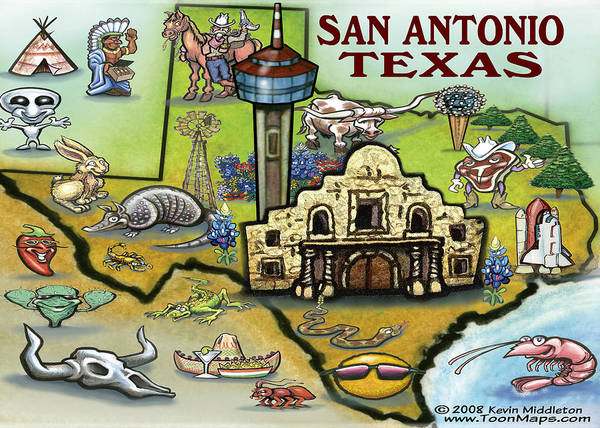 San Antonio Art Print featuring the digital art San Antonio Texas by Kevin Middleton