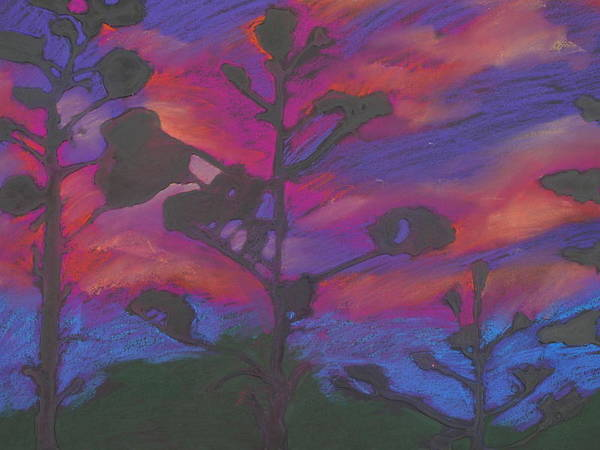 Contemporary Tree Landscape Art Print featuring the mixed media San Diego Sunset by Leah Tomaino