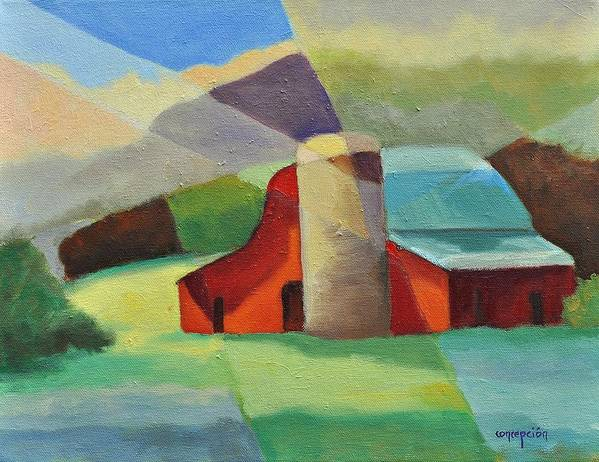 Coloful Abstract Red Barn Art Print featuring the painting Clayton Winery by Ginger Concepcion