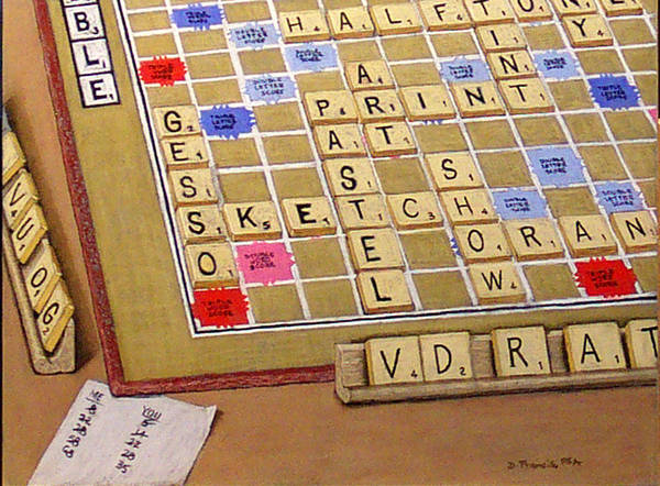 Still Life Art Print featuring the painting Scrabble Gesso Misplayed by David Francis
