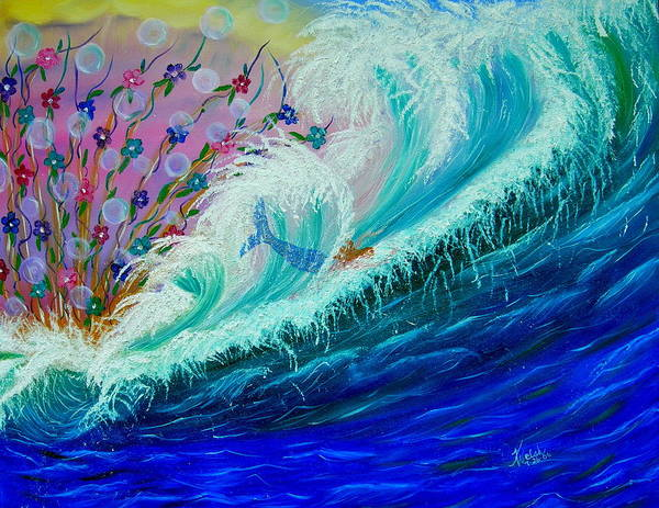 Ocean Art Print featuring the painting Sea Fantasy by Kathern Welsh