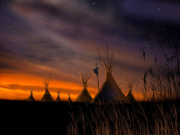 Native American Art Print featuring the painting Silent Teepees by Paul Sachtleben