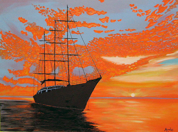 Seascape Art Print featuring the painting Sittin' on the Bay by Marco Morales