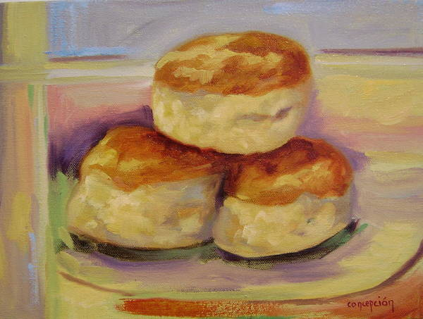 Biscuits Art Print featuring the painting Southern Morning Fare by Ginger Concepcion
