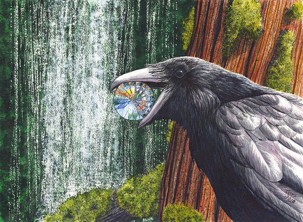 Raven Art Print featuring the painting Sparkle by Catherine G McElroy
