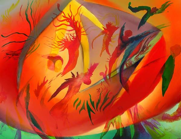 Abstract Art Print featuring the painting Spirit Dance in the Cave by Peter Shor