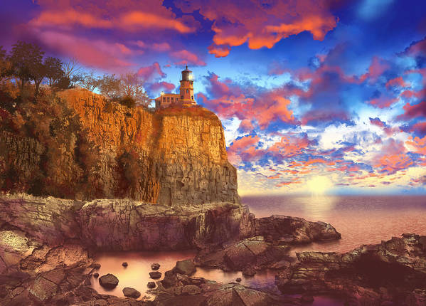 Lighthouse Art Print featuring the painting Split Rock Lighthouse by Bekim M