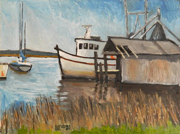 Boat Art Print featuring the painting St Mary's Shrimp Boat by Robert Holewinski
