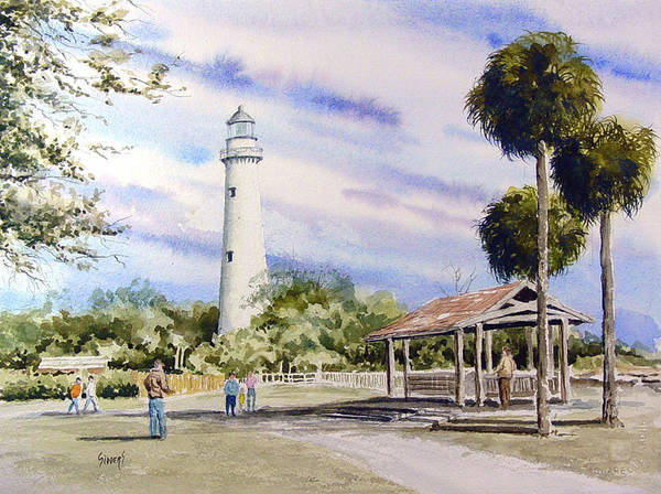 Lighthouse Art Print featuring the painting St. Simons Island Lighthouse by Sam Sidders