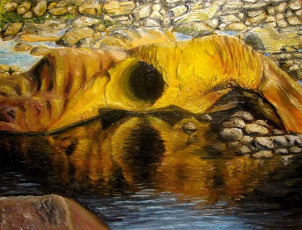 Landscape Art Print featuring the painting Stones Ocoee river in Tennessee landscape original oil paintings by Natalja Picugina