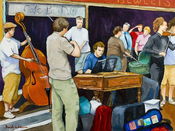 Figurative Art Print featuring the painting Street Musicians in Dublin by Brenda Williams