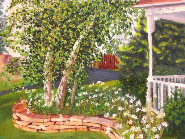 Daisies Art Print featuring the painting Summer Garden by Lea Novak