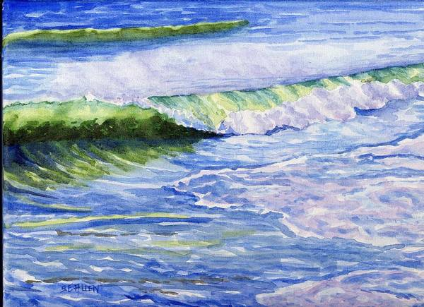 Seascape Art Print featuring the painting Sunlit Surf by Sharon E Allen