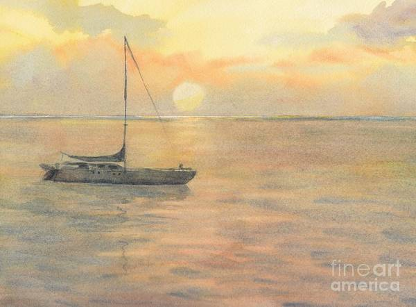Sunset Art Print featuring the painting Sunset by Yohana Knobloch