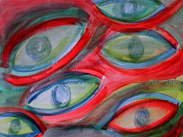 Eyes Art Print featuring the painting Swimming eyes by Margie Byrne