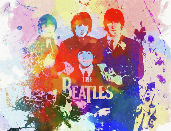 The Beatles Watercolor Art Print featuring the painting The Beatles Paint Splatter by Dan Sproul