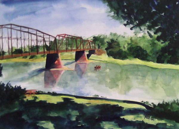 Bridge Art Print featuring the painting The Bridge at Ft. Benton by Andrew Gillette