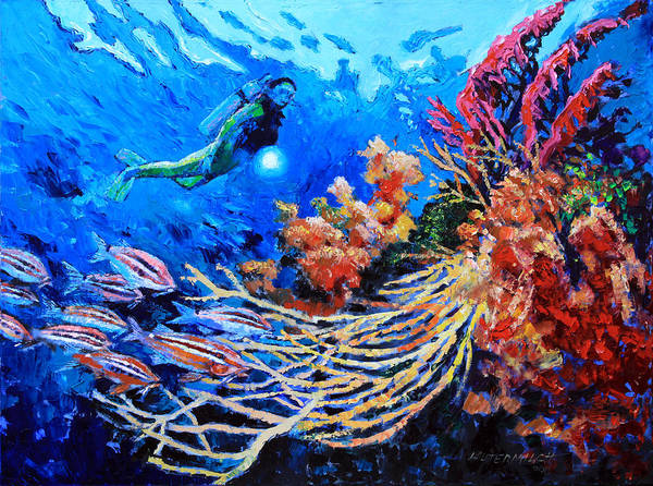 Scuba Diver Art Print featuring the painting The Flow of Creation by John Lautermilch