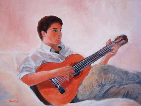 Konkol Art Print featuring the painting The Guitarist by Lisa Konkol