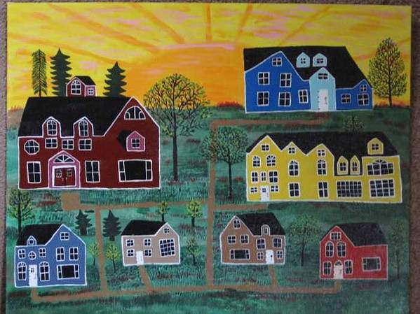 Sunshine Art Print featuring the painting The Pines at Altonshine Sky by Mike Filippello