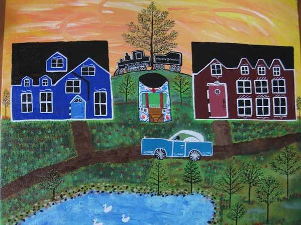 Folk Art Village With Car Art Print featuring the painting The Train at Galakendra's Elm by Mike Filippello