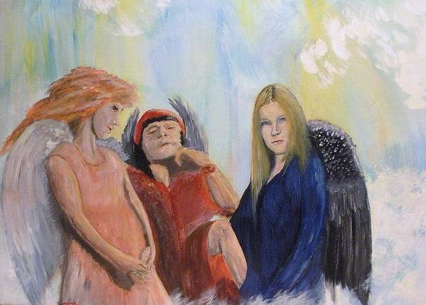 She Wonders Are They Worth It? Art Print featuring the painting They Talk Of Man by J Bauer