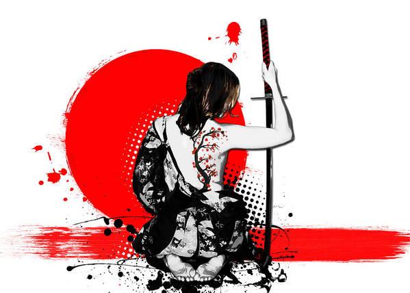 Samurai Art Print featuring the digital art Trash Polka - Female Samurai by Nicklas Gustafsson
